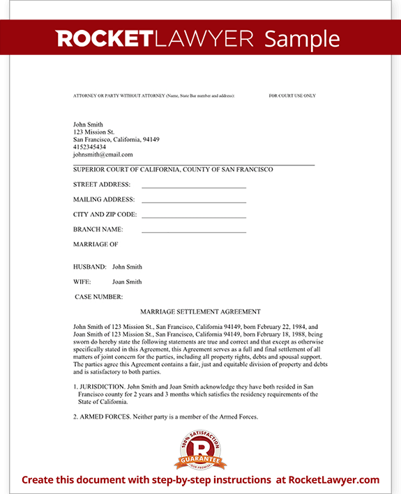 Divorce Settlement Agreement Template with Sample – Print Divorce Papers