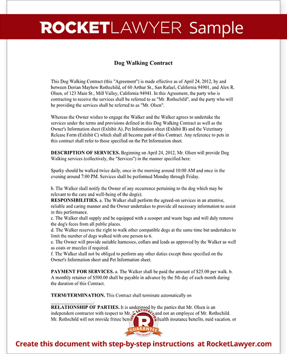 dog walking contract