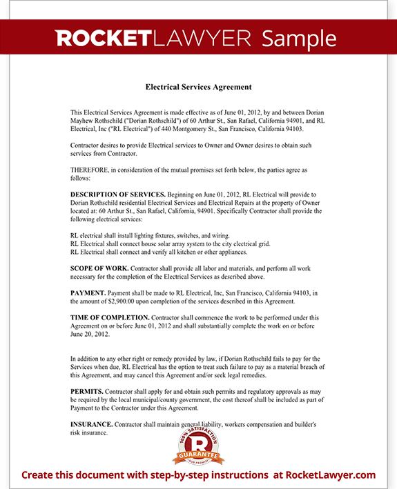 Electrical Service Contract Agreement (with Sample)