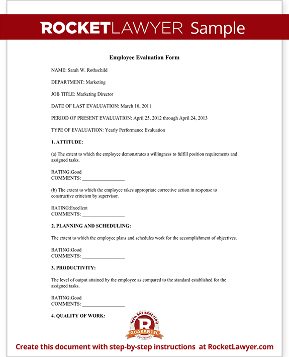 Employee Evaluation Form Performance Review – Template Feedback Form
