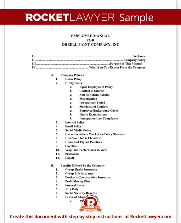 Employee manual template document with sample for Company policy manual template