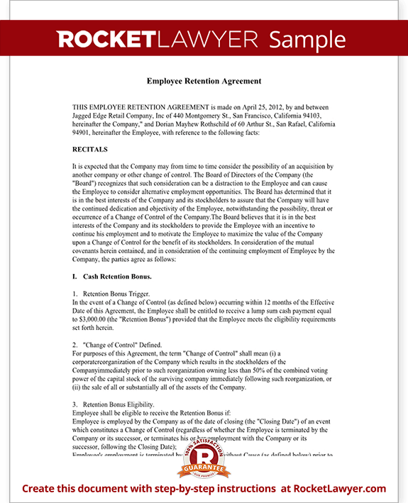 Employee retention agreement template with sample for Retention schedule template