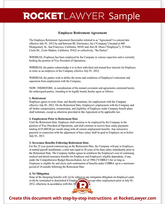Employee Retirement – Severance Agreement Template