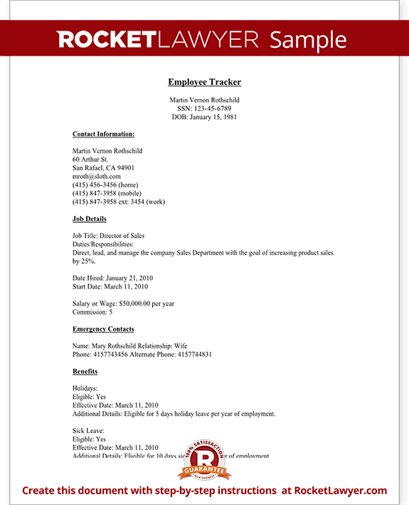 Employee Tracker Template with Sample – Employee Contact Information Template
