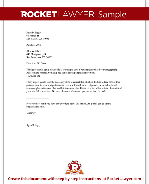 Employee warning letter warning letter to employee with for Letter of reprimand template