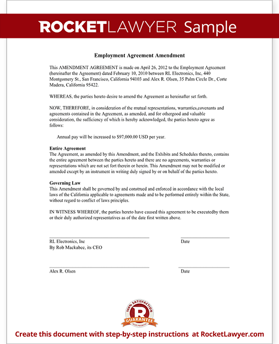 Employment Agreement Amendment (Form With Sample)