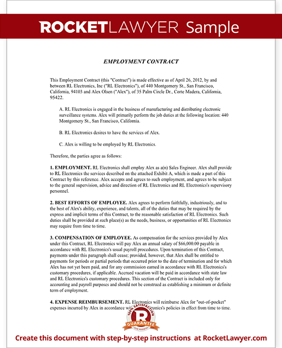 Employment contract agreement template rocket lawyer for Terms of employment contract template