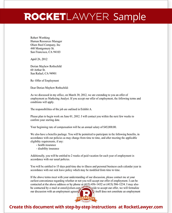 Job Offer Letter Employment Offer Letter Template with Sample – Offer Letter Example