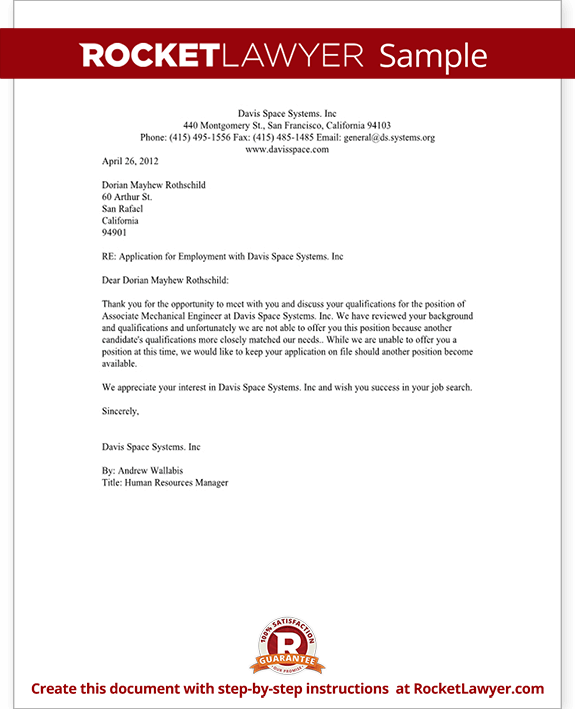 Perfect Sample Applicant Rejection Letter Free Download