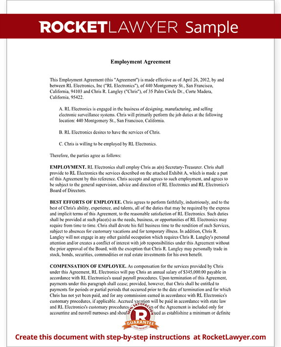 Executive Employment Agreement Contract Template with Sample – Executive Employment Contract