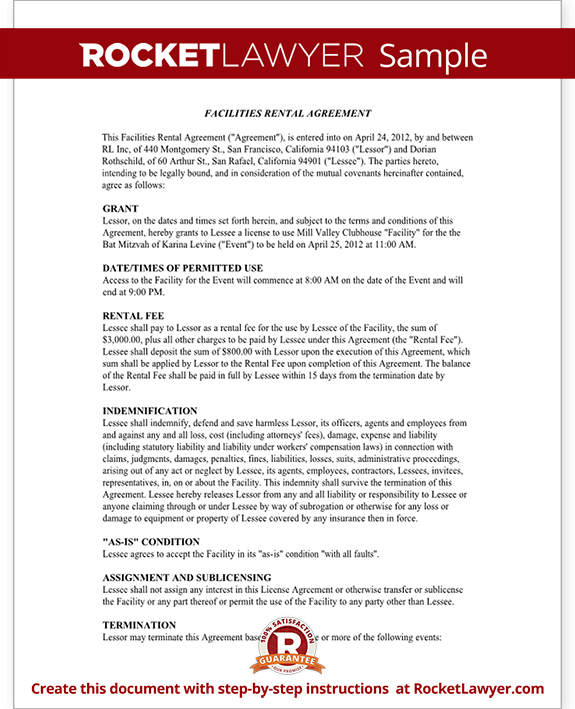 Event Rental Agreement Template Facilities Rental Agreement – Event Agreement Template