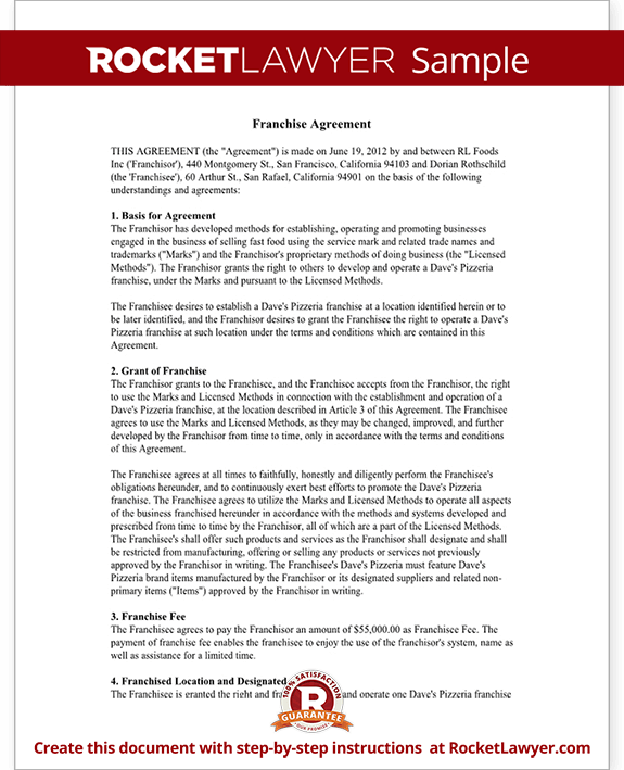 Franchise Agreement Template Franchise Contract with Sample – Sample Franchise Agreements