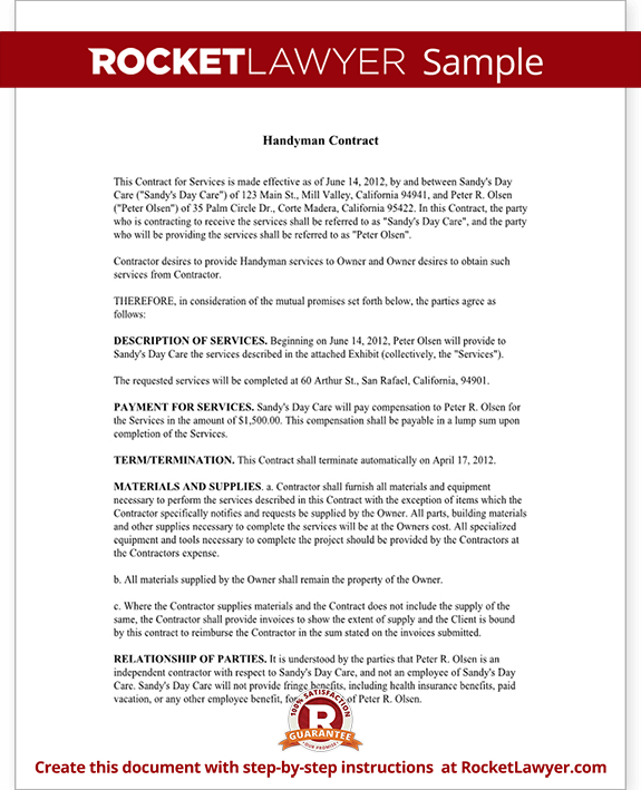 Handyman Contract Agreement Form & Template (with Sample)