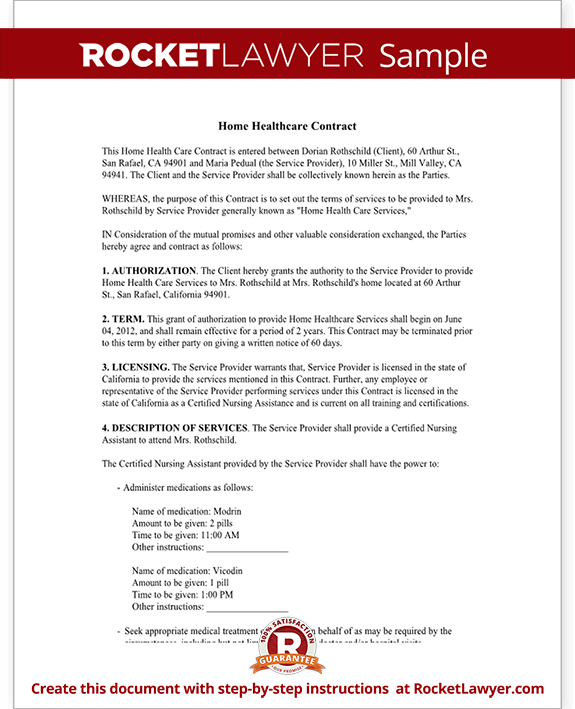 Home Health Care Contract Agreement Template With Sample