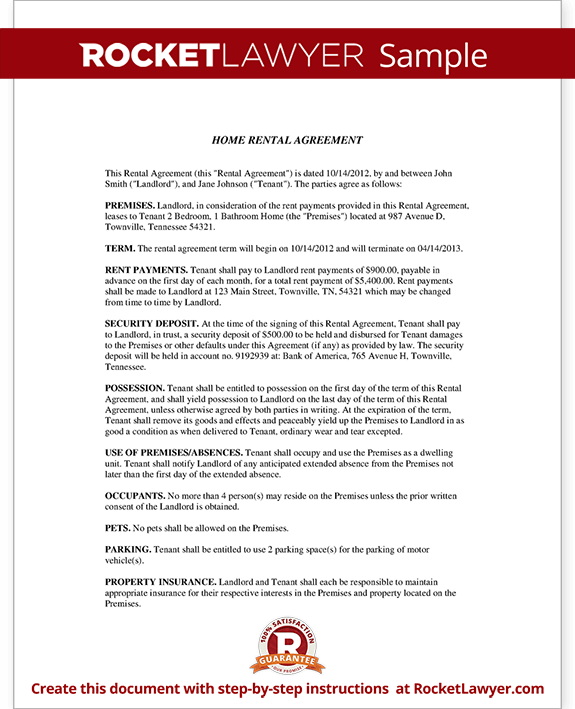 Home Rental Agreement House Lease Contract Form Template – House Rental Agreements Templates