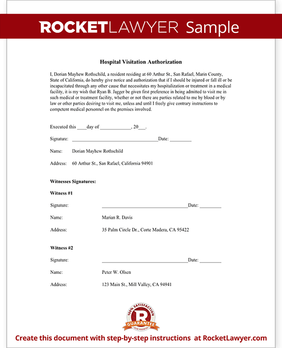 Hospital Visitation Authorization Form With Sample