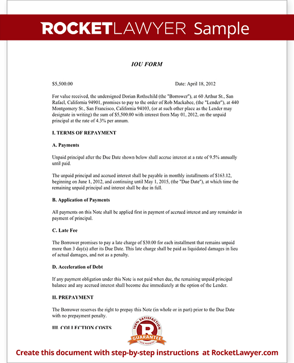 iou letter template iou template acknowledgement of debt rocket lawyer