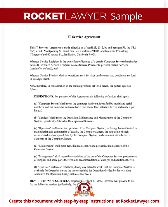 IT Service Contract Agreement Template with Sample – Sample Master Service Agreement