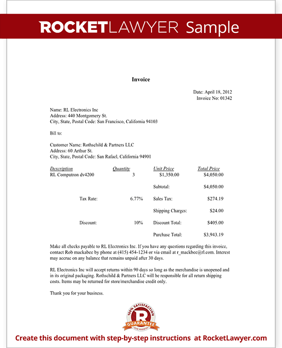 Reliefworkersus  Pleasing Invoice Template  Sample Invoice Document  Rocket Lawyer With Exciting Sample Invoice With Awesome Ato Tax Invoices Also Express Invoice Code In Addition Excel  Invoice Template Free Download And Invoice Financing Uk As Well As Nz Invoice Template Additionally Dental Invoice Sample From Rocketlawyercom With Reliefworkersus  Exciting Invoice Template  Sample Invoice Document  Rocket Lawyer With Awesome Sample Invoice And Pleasing Ato Tax Invoices Also Express Invoice Code In Addition Excel  Invoice Template Free Download From Rocketlawyercom