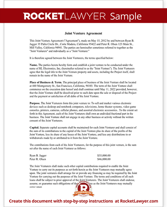 Joint Venture Agreement Template Joint Venture Contract with – Joint Venture Sample