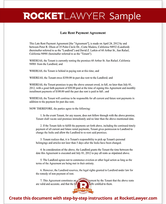 Late Rent Payment Agreement Form with Sample Delinquent Past Due – Legal Promise to Pay Document