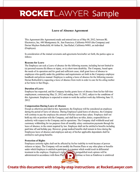 Leave Of Absence Letter Amp Agreement Form With Sample