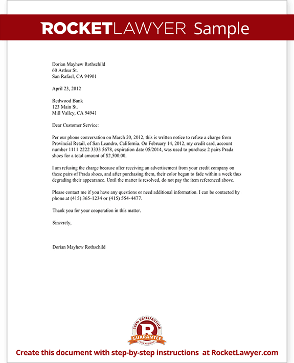 Letter Refusing to Pay for a Charge on your Credit Card Template – Refusal Letter
