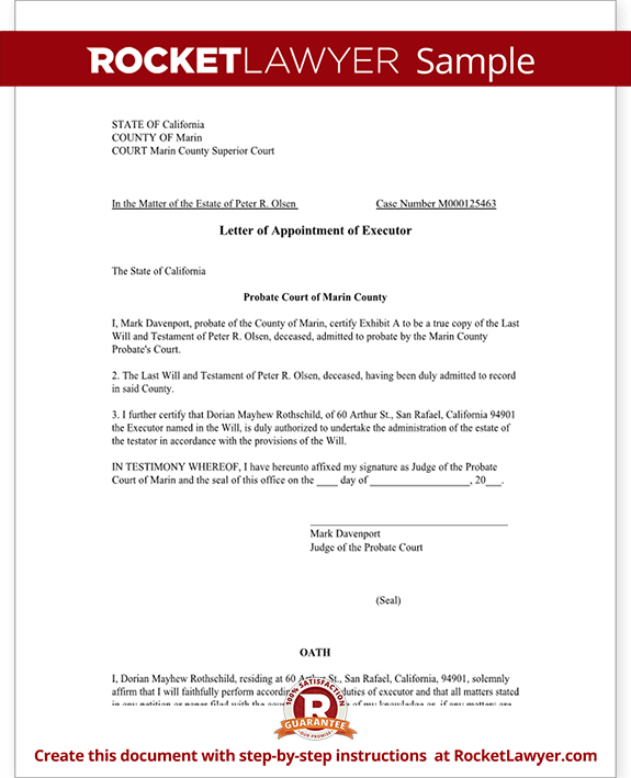 estate distribution letter template - letter of appointment of executor template with sample
