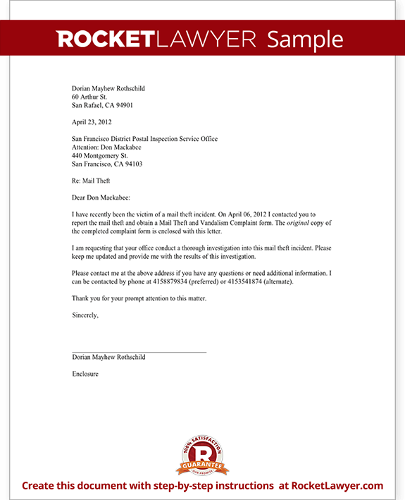 sample letter to report mail theft