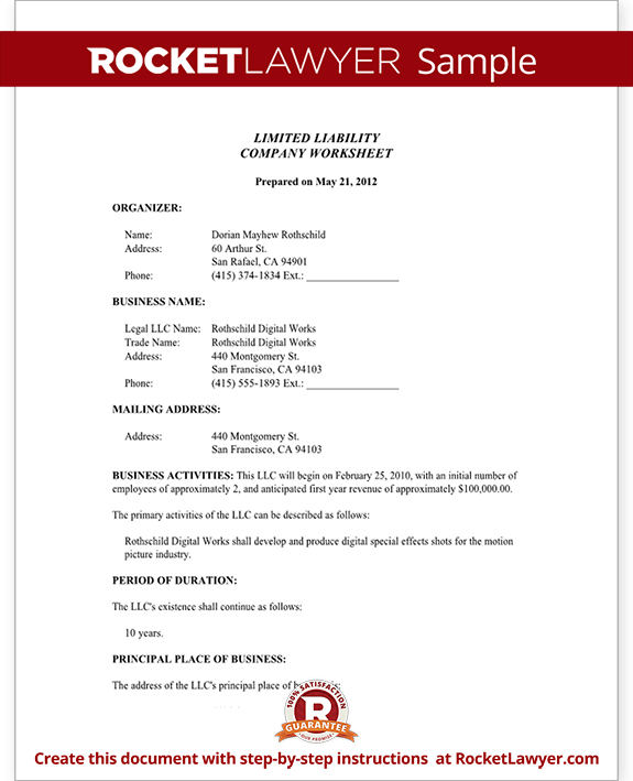 Limited liability company worksheet form with sample for Nebraska certificate of organization template