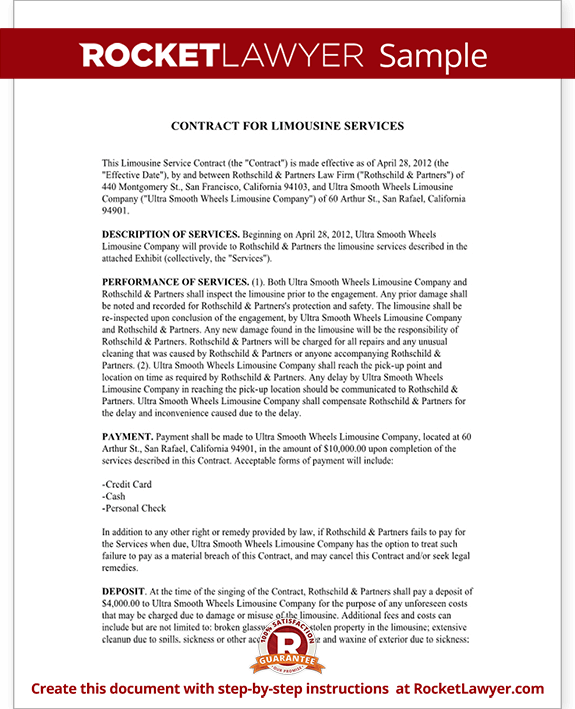 Limousine Service Contract Limousine Service Agreement