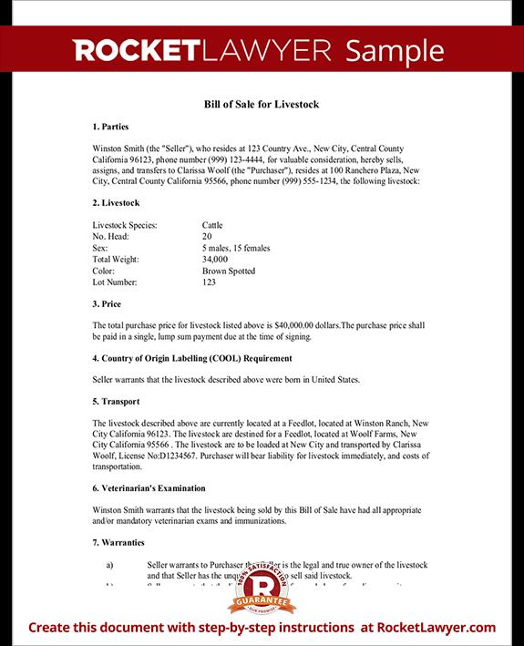 Livestock Bill Of Sale