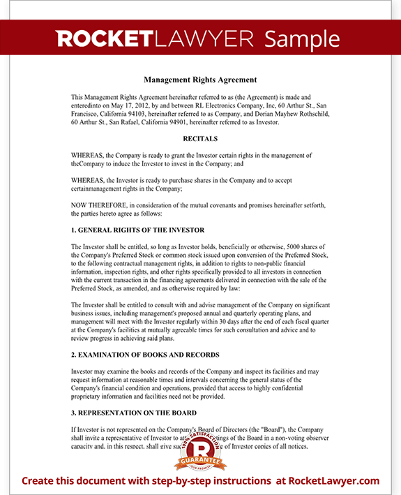 Investment Management Agreement Management Rights Letter with – Investors Agreement Template