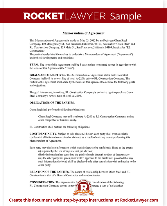 Memorandum of Agreement MOA Form Cooperative Agreement Template – Sample Memorandum of Agreement