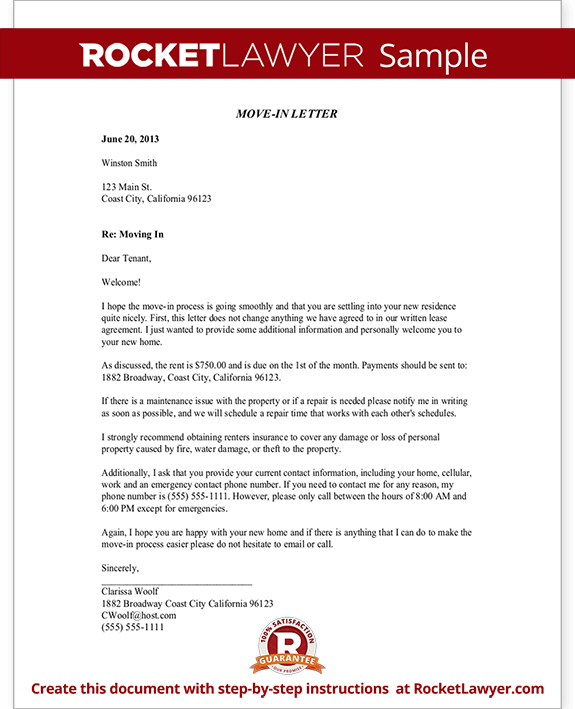 Move In Letter To Tenant
