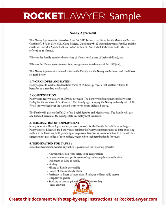 Sample Nanny Contract Agreement – Nanny Agreement Contract