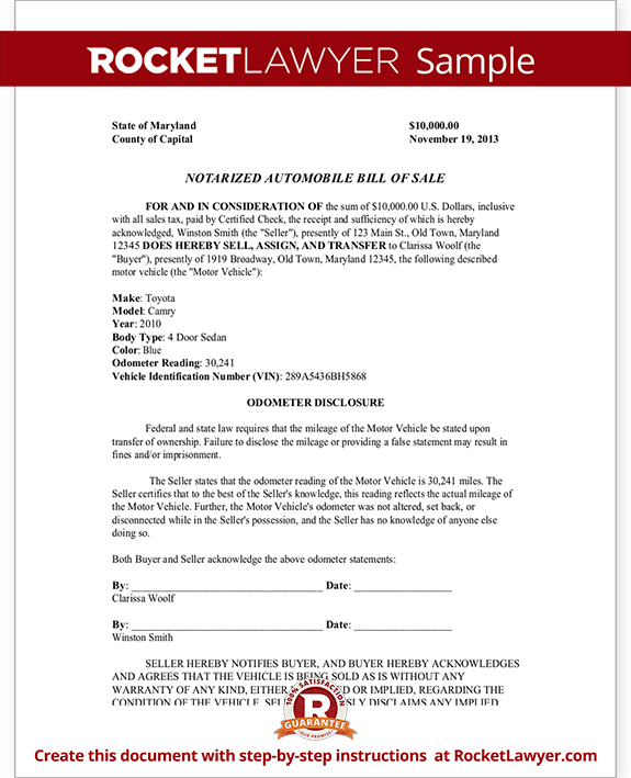 Notarized Automobile Bill of Sale Form Template - With Sample