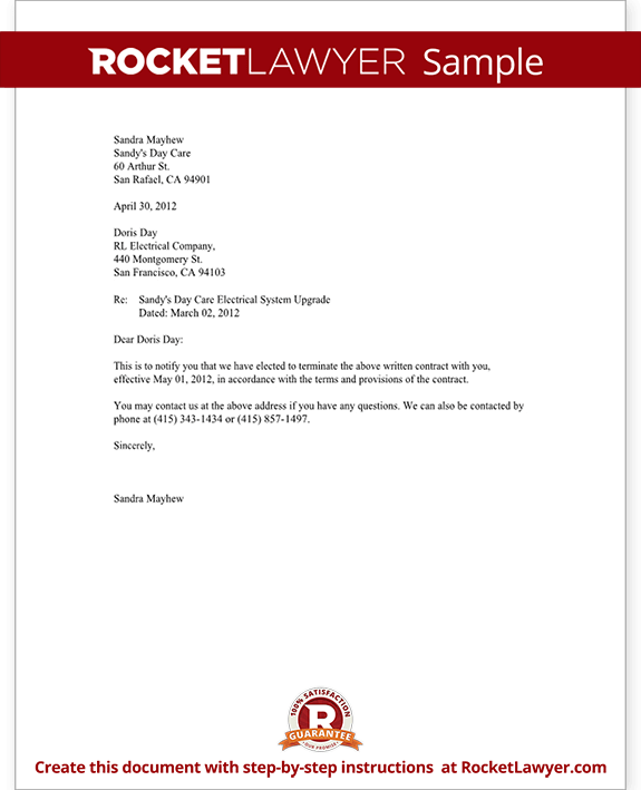 sample notice of contract termination letter to terminate a contract