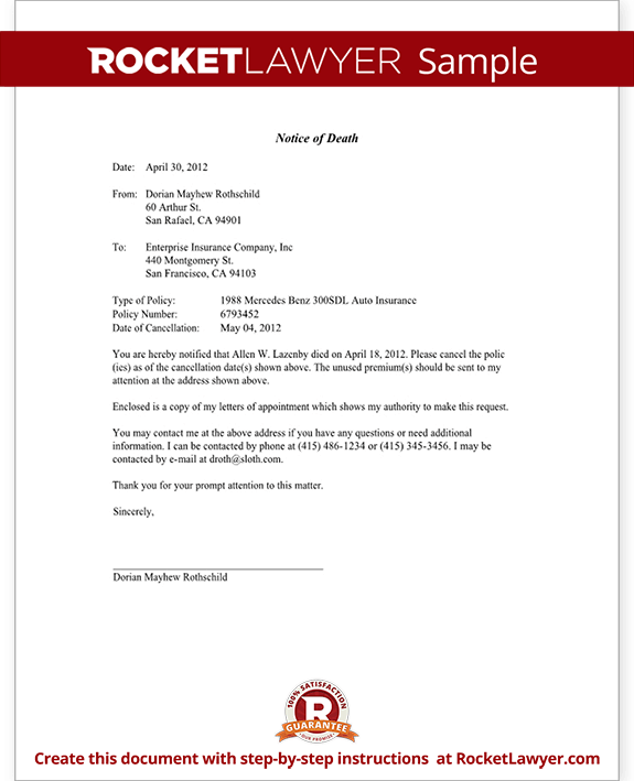 Notice Of Death To An Insurance Company Letter Template
