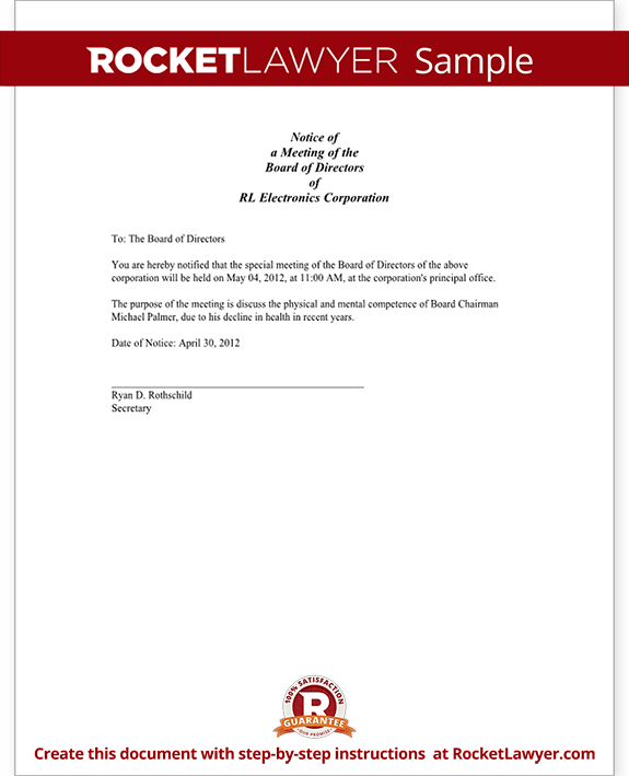 Notice of Meeting - Shareholder's Meeting Notice (Form With Sample)