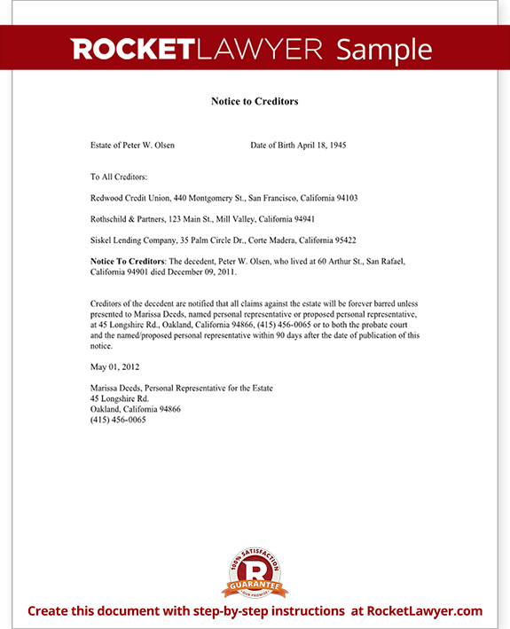 Letter to Creditors Notice to Creditors Form Bankruptcy – Letter of Good Faith