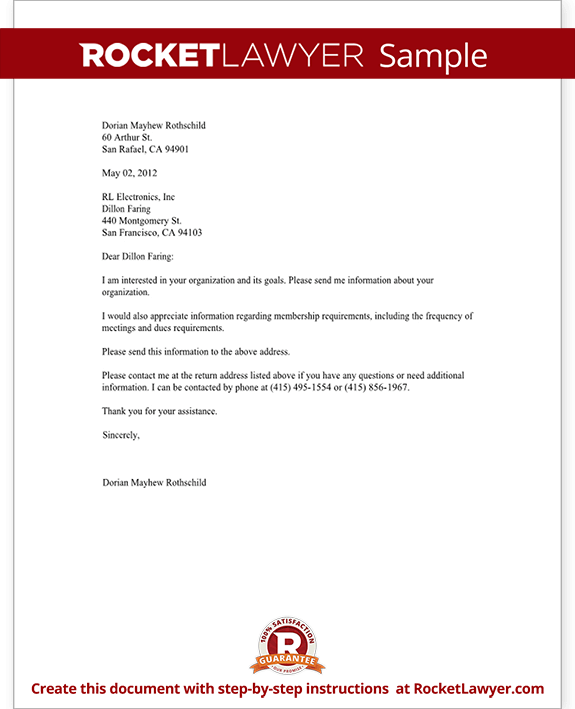 Letter Requesting Information about an Organization ...