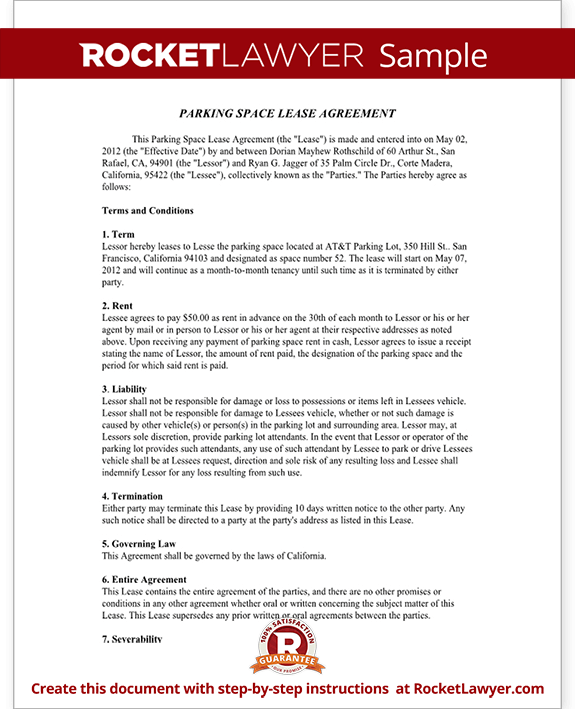 Parking Space Rental Agreement Parking Lease Template – Parking Lease Template