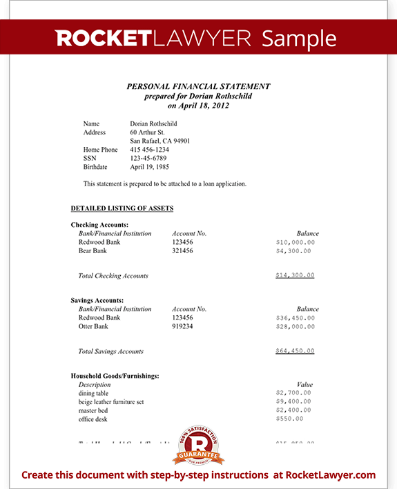 Personal Financial Statement Married – Asset and Liability Statement Template