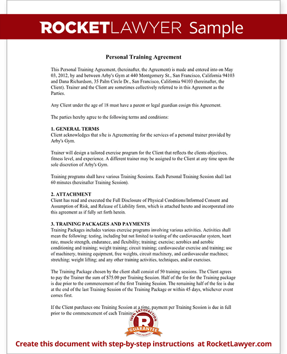 Personal trainer forms personal training contract for Personal trainer workout template