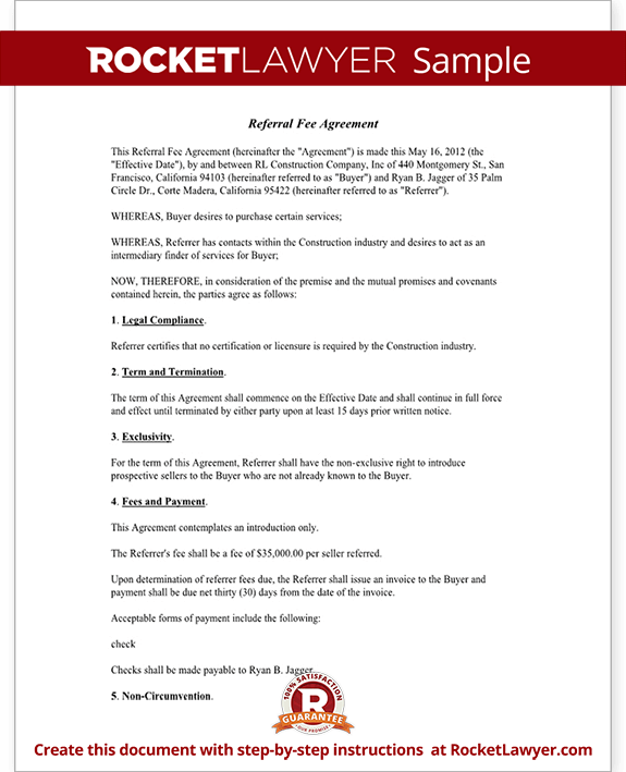 referral fee agreement template form with sample. Black Bedroom Furniture Sets. Home Design Ideas