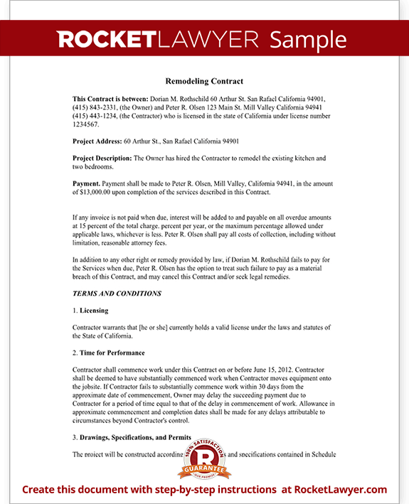 Home Remodeling Contract Form with Sample – Remodeling Contract Template Sample