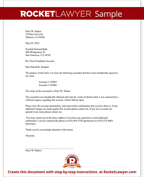 account closure letter template - request to close fradulent bank account letter bank
