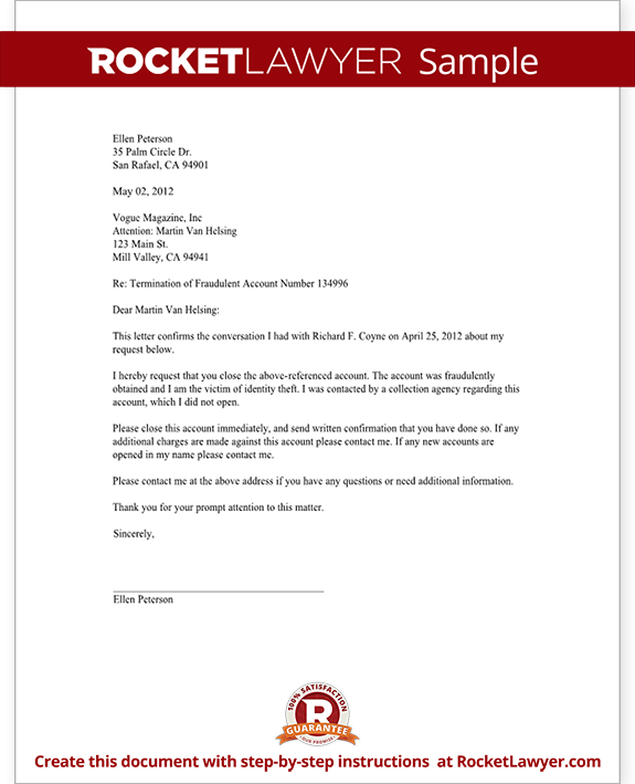 Request to close an unauthorized account letter template for Account closure letter template