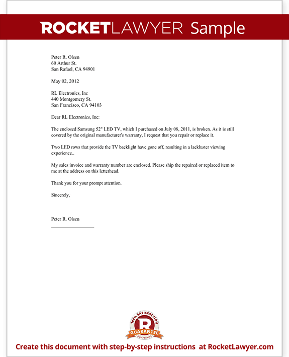 Warranty Repair Request Letter - Create a Free Template (with Sample)